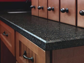 Countertop with a beveled edge.
