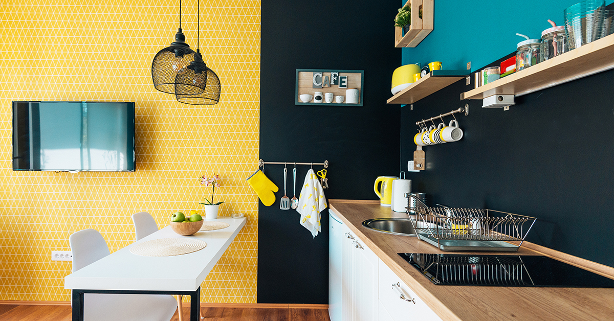 Small kitchen with trendy colors and decorations