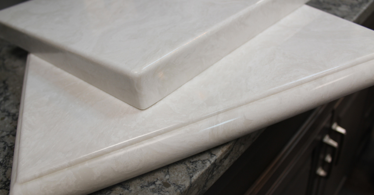 Close-up of cultured marble slabs with different edge treatments