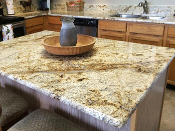 Countertop with a full bullnose edge.