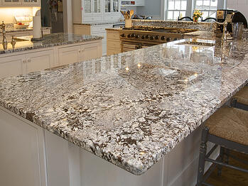 Countertop with a rounded edge.