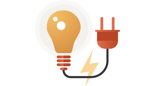 Illustration of light bulb and electrical work