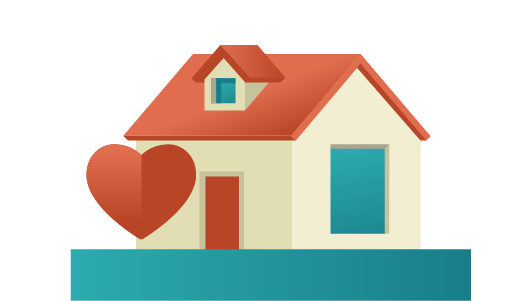Illustration of a home with a heart icon